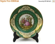 10% Off French Romantic Porcelain Plate with Fragonard Illustration. Green and Gold Porcelain Wall Plate.