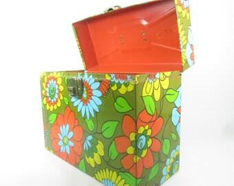 Retro decor, Groovy Case,1970s Case,file case,file box,metal box,Flower power,box,storage box,yellow, green orange,