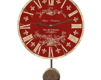 Red Toile Pendulum Clock- Toile Wall Clock