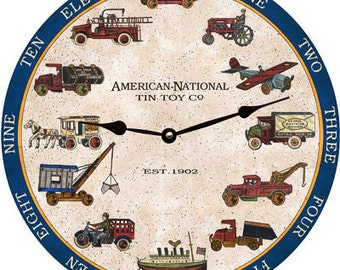 American National Tin Toy Clock