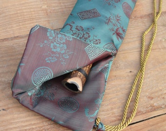 Silk Flute Bag-Padded & lined with a Vapor Barrier-Iridescent Teal/Ruby color-for 19-23 inch flute-1.8 shakuhachi flute bag