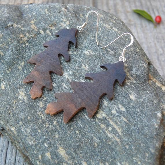 Oak leaf Earrings Silver, Festival Fashion Earrings, Dangle drop leaf earrings, Natural leaf earrings, Boho wooden jewelry, gift under 30