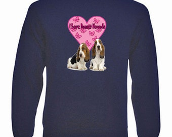 I Love Basset Hounds Sweatshirt. Fleecy Lined Ribbed Cuffs and Neck, Choice of Sizes and Colours