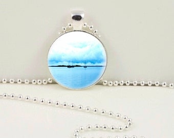 Blue Sails Photographic Pendant or Keychain