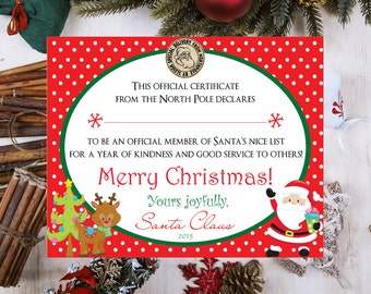 INSTANT DOWNLOAD Printable Official Santa's Nice List Certificate - 8x10