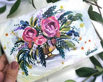 Whimsical Floral Arrangement Mini Painting