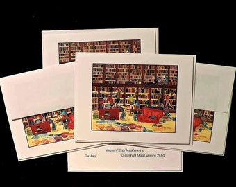 Teacher Gift, Gift For Librarians, Gift for Teachers, Card Set, Small Gifts, Blank Note Cards, Cards and Envelopes,Book Worm, Book Lover
