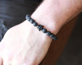10MM Mens Buddha Bracelet - Buddha Bracelet - Mens Black Onyx Stone Buddha Bracelet