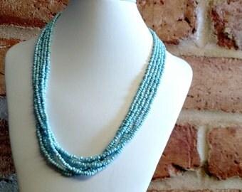 Rainbow blue seed bead multistrand necklace