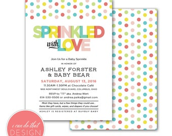 Polka Dot Baby Sprinkle Shower Invitations