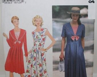 Simplicity 9618, Misses Sailor's Dress, Nautical Dress, Large Collar Dress, Sun Dress, Misses Pleated Dress, Misses Size 8 10 12, UNCUT