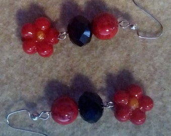 Red Flower and Black Beaded Earrings No. 901