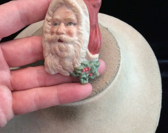 Vintage Large Ceramic Christmas Santa Claus Pin