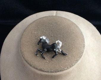 Vintage Black Enameled Horse Pin