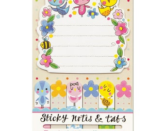 Spring Flowers and Birds Sticky Notes / Tabs