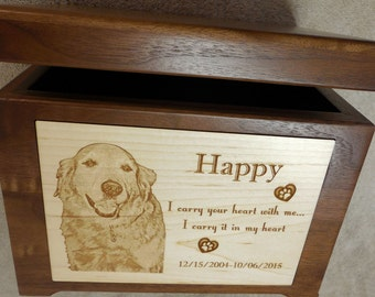 Large Memory Box Keepsake Pet Urn - Laser Engraved Walnut Dog Urn