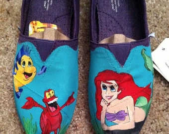 Custom Disney TOMS. Little Mermaid. Little Mermaid Toms. Little Mermaid Shoes. Painted Shoes. Ariel Shoes. Ariel Toms. Cinderella Toms.
