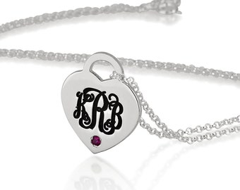 Heart Monogram Necklace - Personalized Monogram Heart Necklace with birthstone - sterling silver