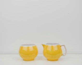 Yellow and White Erphila Cream + Sugar Set