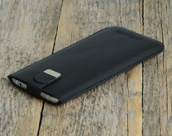 MONOGRAMMED Your Name Case with Magnetic Flap for Nokia 6 5 3. Genuine Black Leather Sleeve Cover Pouch