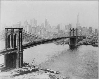 Brooklyn Bridge, New York City 1915, Photo Print