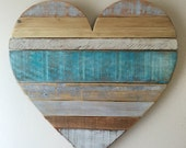 Medium rustic striped turquoise heart, beach , wall decor, cottage
