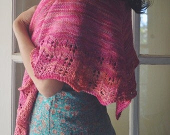 Amelie Shawl in pink - Large size , knit wrap , lace edge, yellow and brown shades, spring, fall