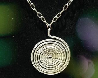 Silver aluminum wire pendant, necklace, wire jewelry
