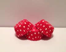 50 count - Greaseproof Red with White Polka dots mini size cupcake liners/baking cups