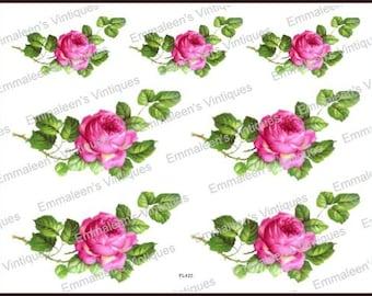 Vintage Shabby Pink Roses Bavarian Single Rose Swag Waterslide Decals~ FL422