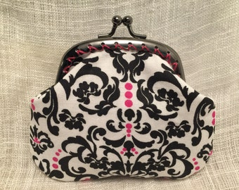 Black and Pink Damask Coin Purse
