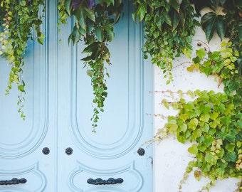 Paris Photography, Paris Door Photo, Paris Print, Paris Decor, Paris Bedroom Decor, Architectural Decor, Blue Door, Paris Wall Art
