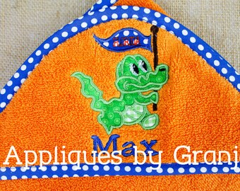 Personalized Appliqued Hooded Baby Bath Towel With Florida Gator