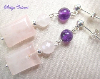 Sterling silver earrings, pink quartz earrings, amethyst earrings,italian jewels,sterling silver, dangle earrings