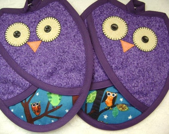 Midnight Owls, Purple and Dark Blue Owls, Owl Hot Pads, Owl Oven Mitts