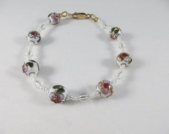 White And Pink Floral Cloissone Beaded Bangle Bracelet