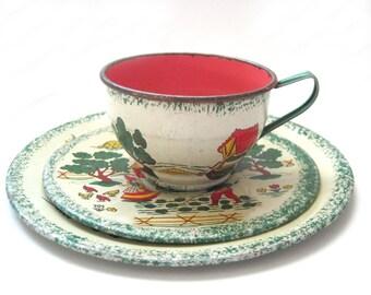 Ohio Art Tin Tea Set, c. 1950s Farm Scene, Pink Inside 3 Pcs Children's Toy Tea Setting, Tea Party Play, Vintage Tins, Vintage Toys