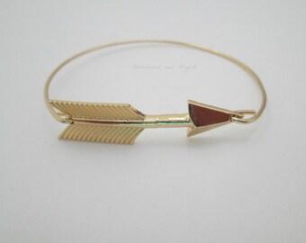 14 KT Gold, Arrow Bracelet,Arrow Bangle,Follow Jewelry,Archery,Bow and Arrow,Gold Arrow,Tribe Jewelry,Tribe Bracelet,Gold bracelet