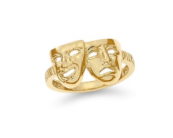 14k solid gold comedy/ tragedy mask ring, theater ring,