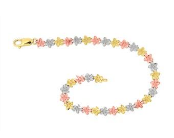 14k tri color solid gold plumeria bracelet, flower bracelet, floral jewelry.
