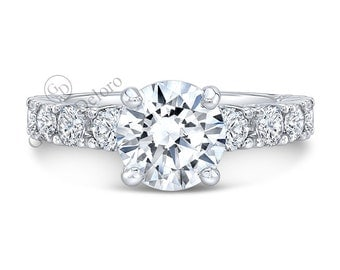 Forever One 8mm  Moissanite Solitaire  Engagement Ring With Round Brilliant Diamonds