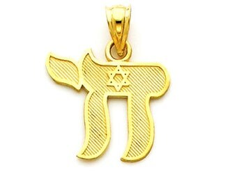 14k yellow gold Chai with Star of David pendant. Chai pendant. Star of David Pendant.