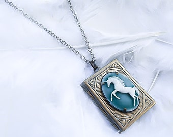 Unicorn Locket Necklace - Unicorn Necklace - Unicorn Jewelry - Fairytale Necklace - Fantasy Necklace - Charm Necklace - Girls necklace