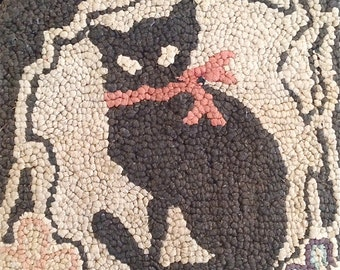 Antique Cat Hooked Rug