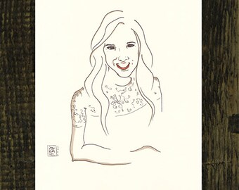 Portrait Zeichnung vom Foto, 2 Originale Portraits, Handgemalt, Personalisiertes Geschenk für Sie, Linien Skizze Karikatur Tinte Zeichnung