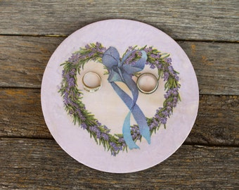 Wedding ring holder Engagement ring dish french style Wedding ring dish lavender heart jewelry dish wooden wood Wedding ring plate