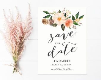 Boho Save The Date, Peach Save The Date Cards, Flowers and Feathers