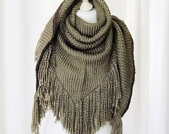 Shawl in XL in Brown fringed Cap Cape