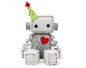 Birthday Robot, Geeky Plush Birthday Gift Idea