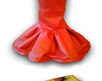 Red dress and bag, eco leather